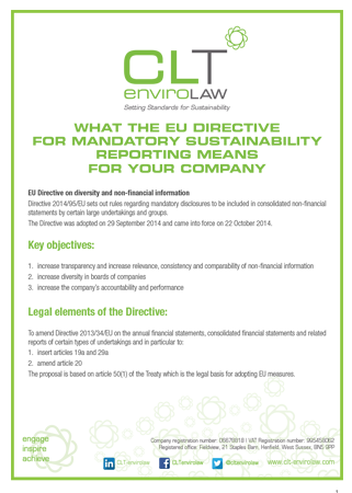 What the EU Directive on sustainability reporting means for your company