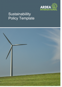 sustainability policy template, ardea international