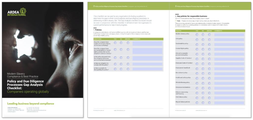Ardea International modern slavery checklist